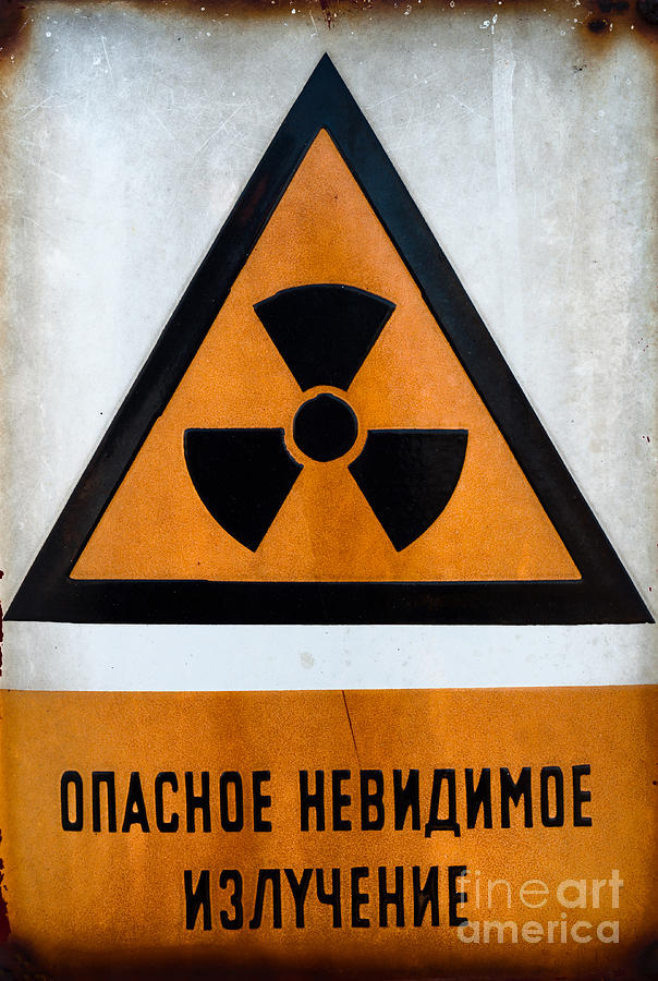 Russian Beware Of Radiation Sign In Metal Pyrography