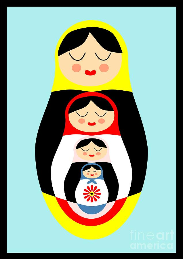 Russian Doll Matryoshka Drawing  - Russian Doll Matryoshka Fine Art Print