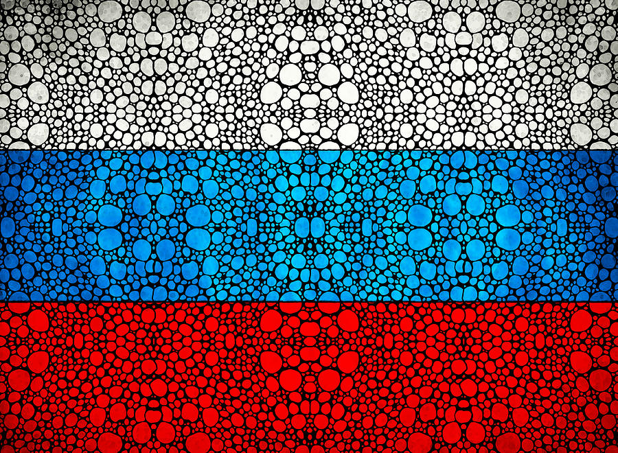 Russian Flag - Russia Stone Rockd Art By Sharon Cummings Painting