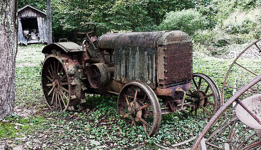 Rusted Mc Cormick-deering Tractor And Shed Photograph