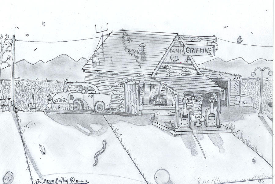 Rustic Gas Station Days Of Past Drawing 