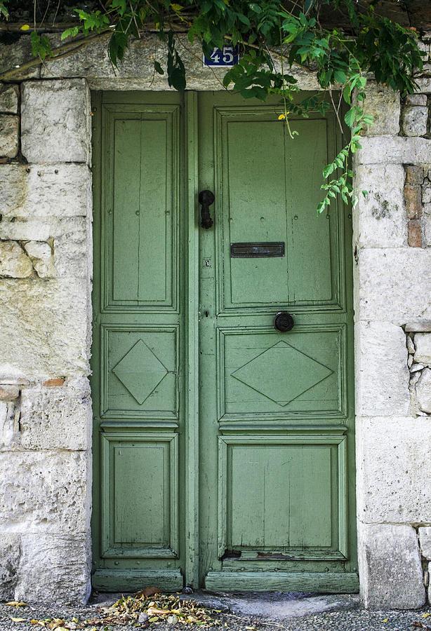 Rustic Green Door With Vines Photograph