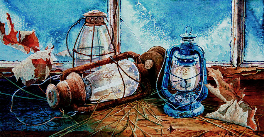 Masculine Still Life Paintings Painting - Rustic Relics by Hanne Lore Koehler