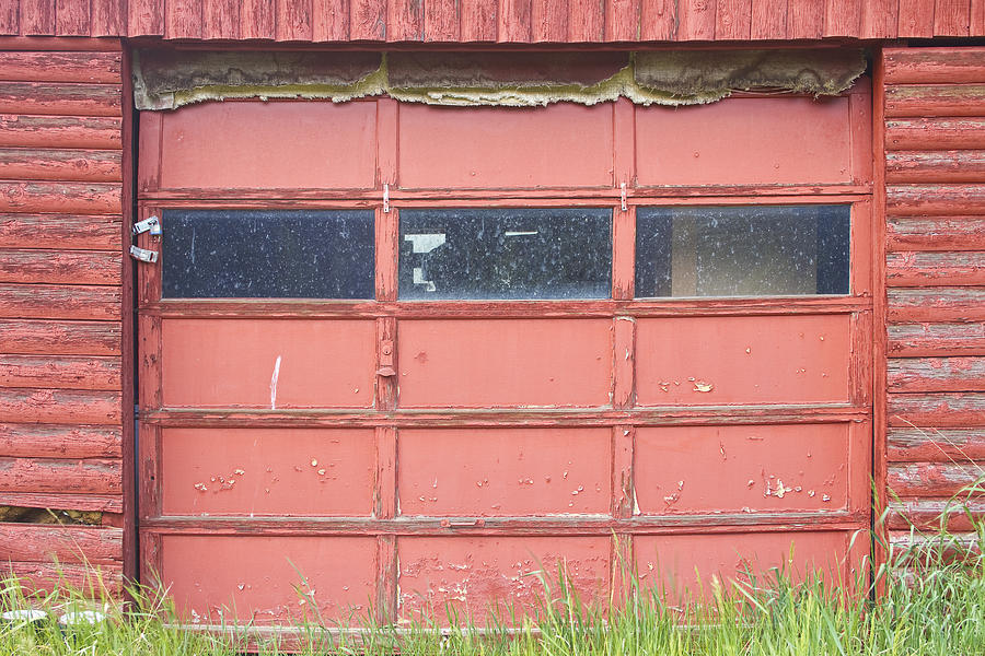 Rustic Rural Red Garage Door Photograph  - Rustic Rural Red Garage Door Fine Art Print