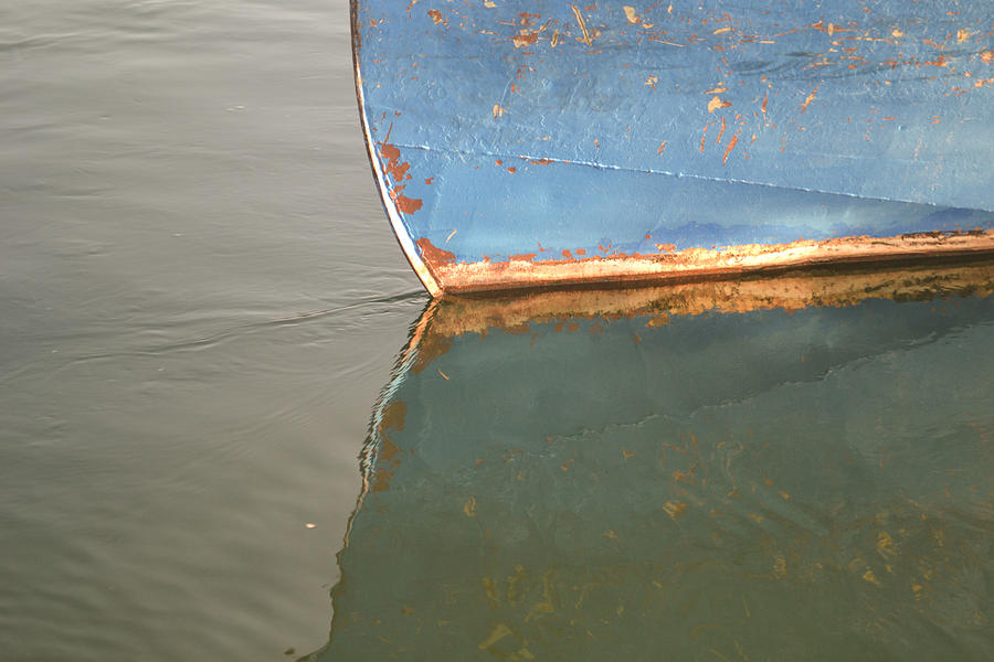 Water Photograph - Rusty Hull Reflection by Bill Mock