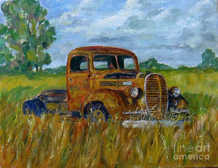Rusty old truck painting by william reed