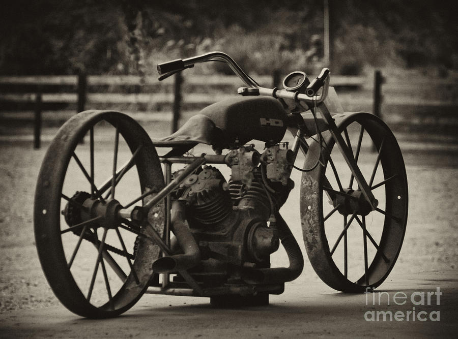 Vintage Motorcycle Photograph - Rusty Rims by Wilma  Birdwell