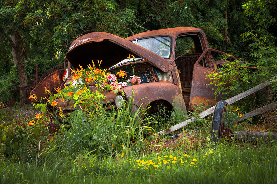 Rusty Truck Flower Bed Charming Rustic Country Photograph By Gary Heller