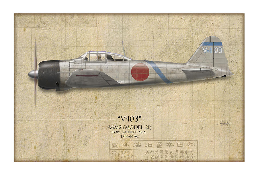 Saburo Sakai A6m Zero - Map Background Painting