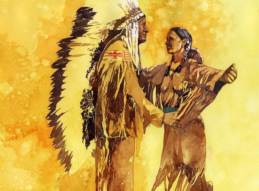 Sacagawea Greeting Her Brother Painting