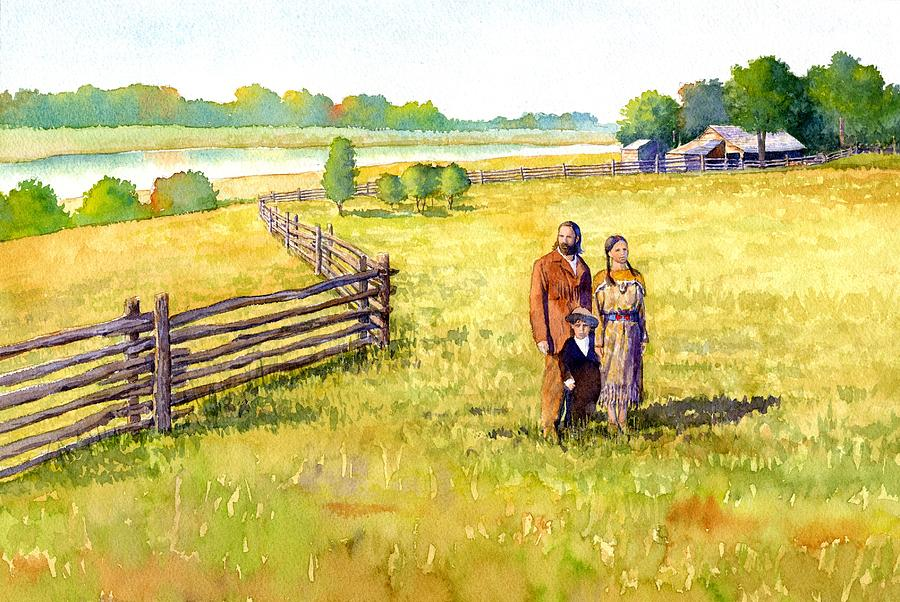 Sacagawea Her Husband And Son At Their Farm Painting  - Sacagawea Her Husband And Son At Their Farm Fine Art Print