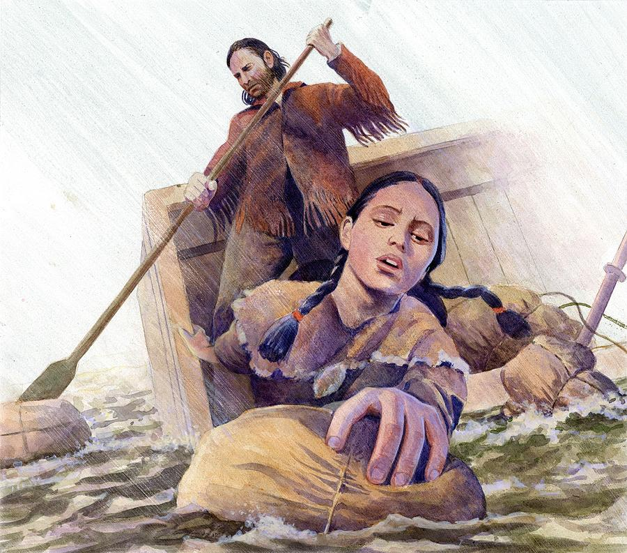 Sacagawea Saving Supplies Painting  - Sacagawea Saving Supplies Fine Art Print