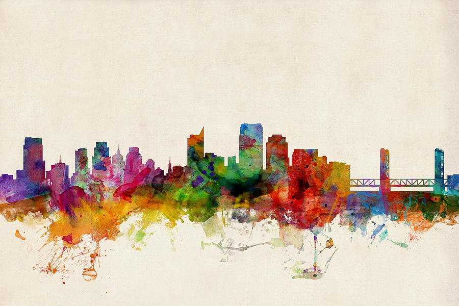 Sacramento California Skyline Digital Art  - Sacramento California Skyline Fine Art Print