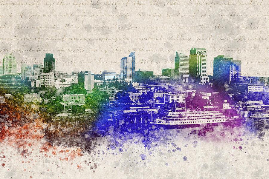 Sacramento Digital Art - Sacramento City Skyline by Aged Pixel