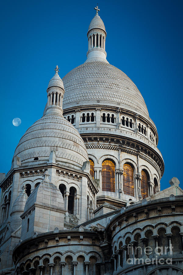Sacre-coeur And Moon Photograph  - Sacre-coeur And Moon Fine Art Print