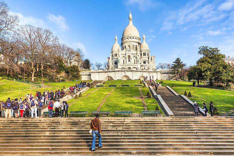 Basilique Du Sacre Coeur Photograph - Sacre Coeur - Basilica Overlooking Paris by Mark E Tisdale
