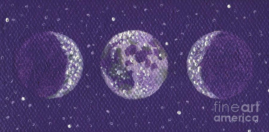 Sacred Feminine Moon In Lavender Sky Painting