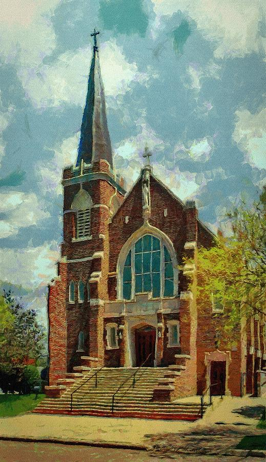 Church Painting - Sacred Heart by Jeff Kolker