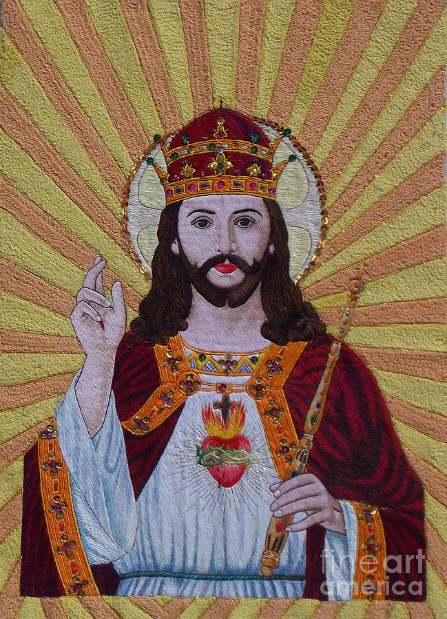 Sacred Heart Of Jesus Hand Embroidery Tapestry - Textile