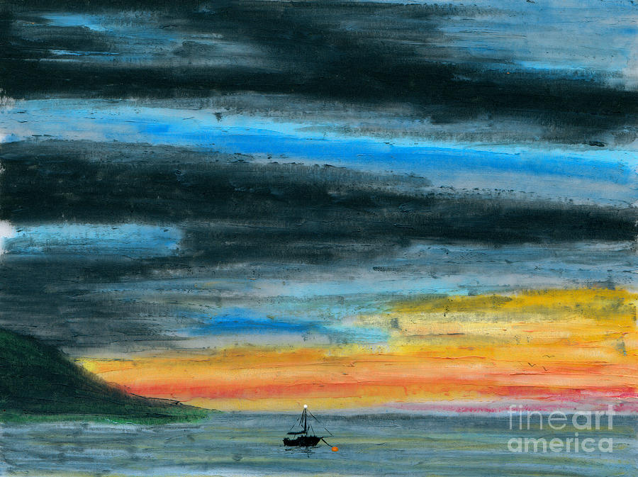 Art Artwork Painting Kyllo Sailboat Sail Sea Ocean Water Saltwater Boat Ship Blue Silhouette Oil Pastel Mast Dark Night Moored Mooring Orange Buoy Maritime Navigational Aid White Light Peace Peaceful Calm Calming Relax Relaxed Relaxing Restful Quiet Painting - Safe At Harbor by R Kyllo