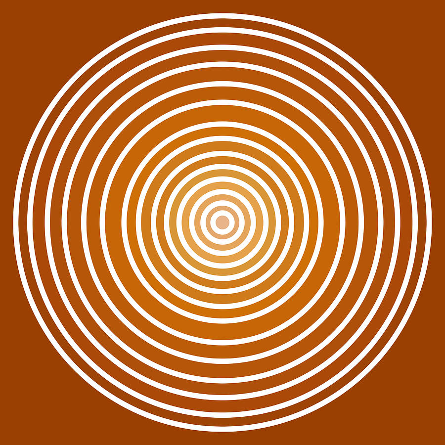 Saffron Colored Abstract Circles Painting