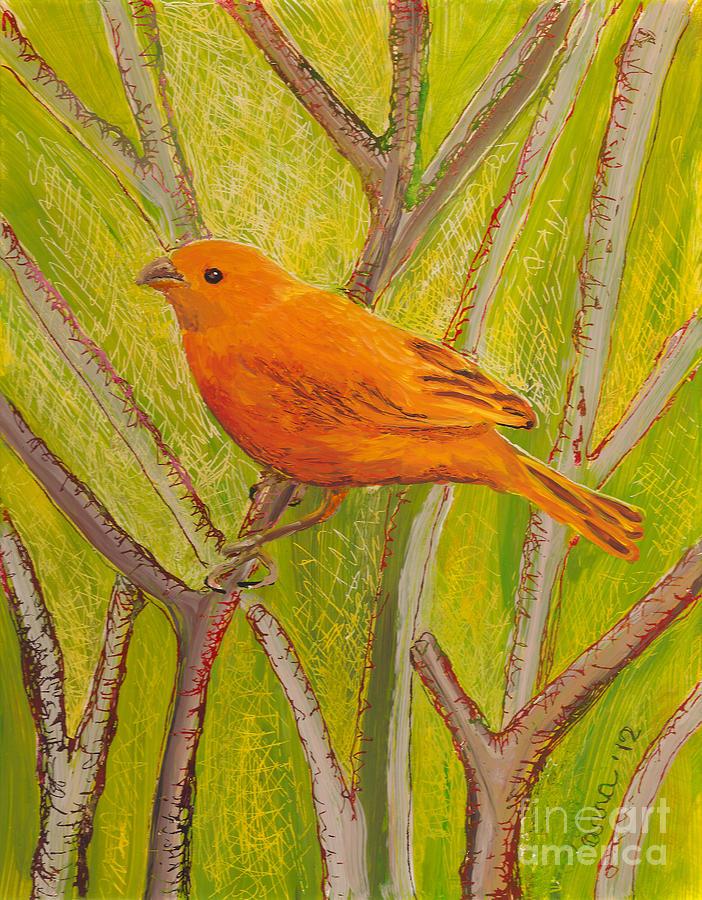 Saffron Finch Painting