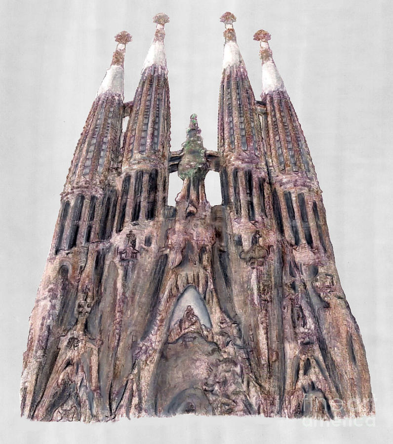 Sagrada Familia Barcelona Drawing  - Sagrada Familia Barcelona Fine Art Print