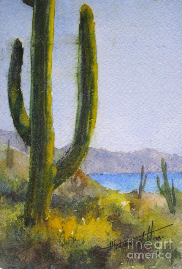 Encapsulated Watercolor Painting - Saguaro by Mohamed Hirji