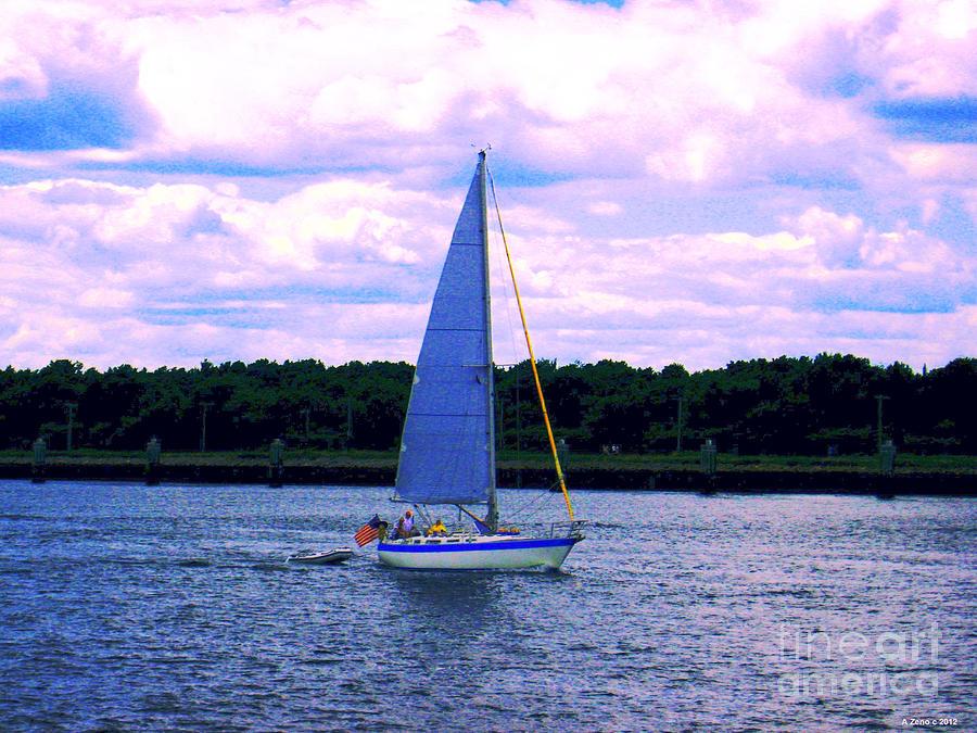 Sail Boat With An American Flag Photograph