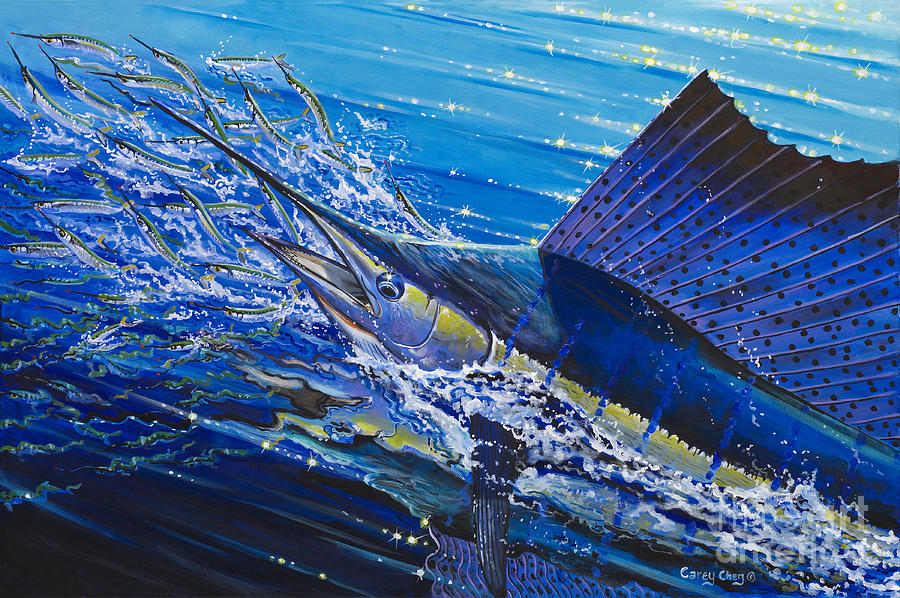 Sailfish Painting - Sail On The Reef Off0082 by Carey Chen