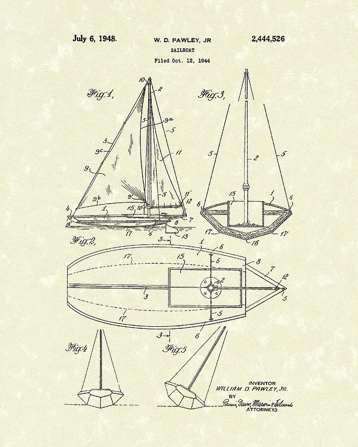 Pawley Drawing - Sailboat 1948 Patent Art by Prior Art Design