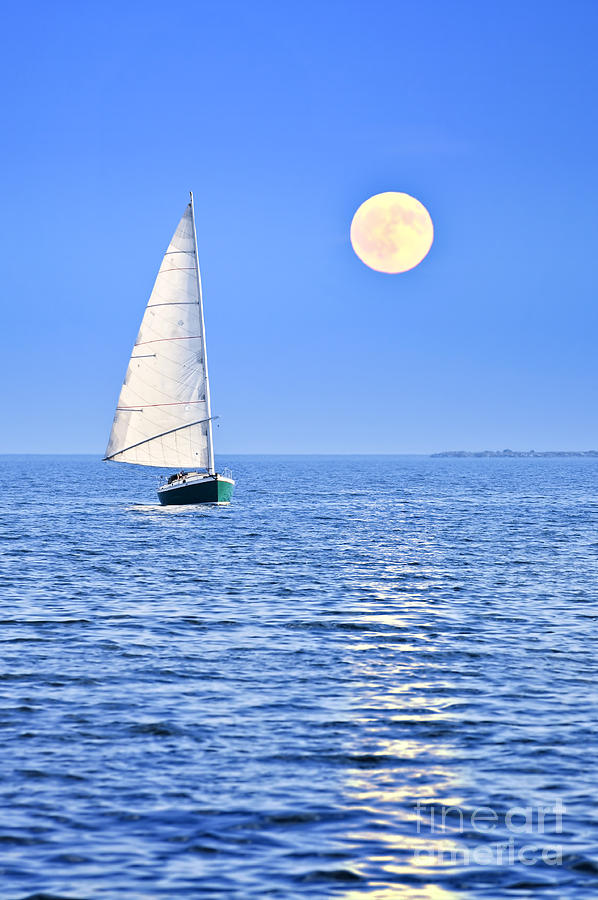 Sailboat At Full Moon Photograph  - Sailboat At Full Moon Fine Art Print