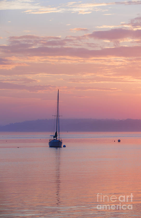 Sailboat At Sunrise In Casco Bay Maine Photograph