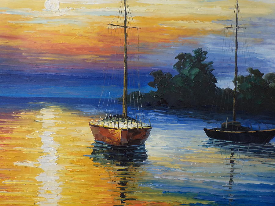 Sailboat At Sunset Painting by Rosie Sherman