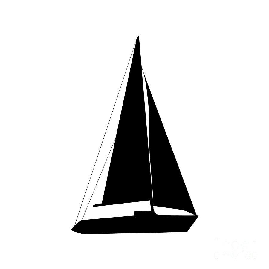 Sailboat In Black And White is a piece of digital artwork by Jackie ...