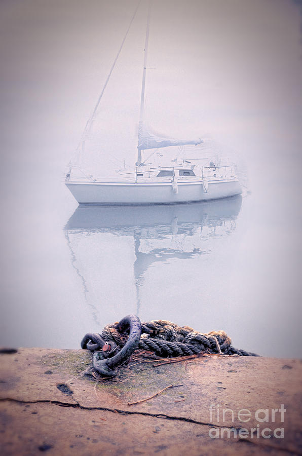 Sailboat In Fog Photograph