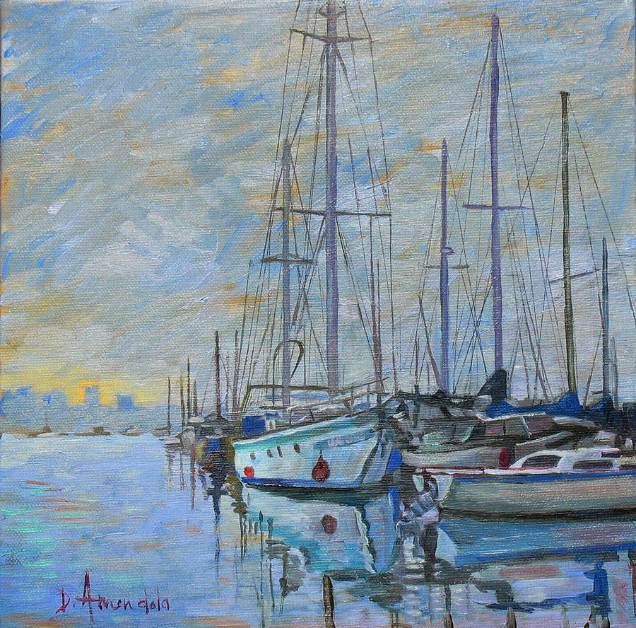 Sailboat In The Evening Fog Painting