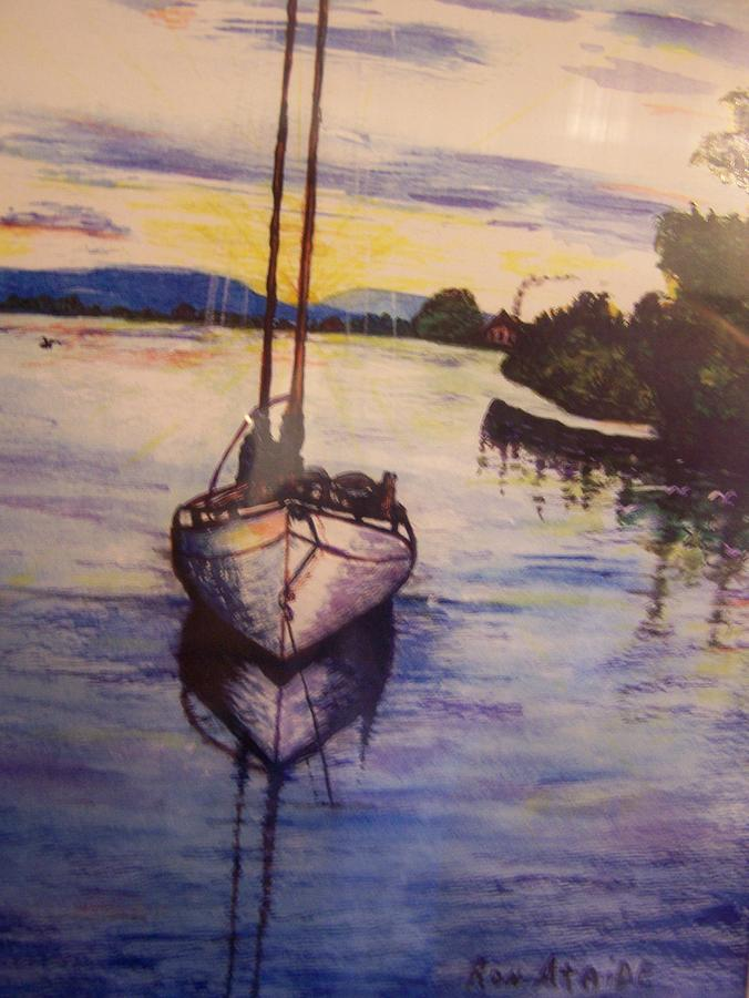 A Lonely Sail Boat Rests Amongst The Mangroves In Costa Rica Painting - Sailboat In The Mangroves Of Costa Rica by Ronald Ataide