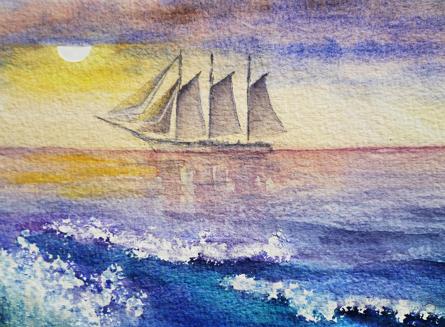 Sailboat In The Ocean Painting
