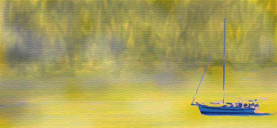 Sailboat On A Yellow Sea Digital Art