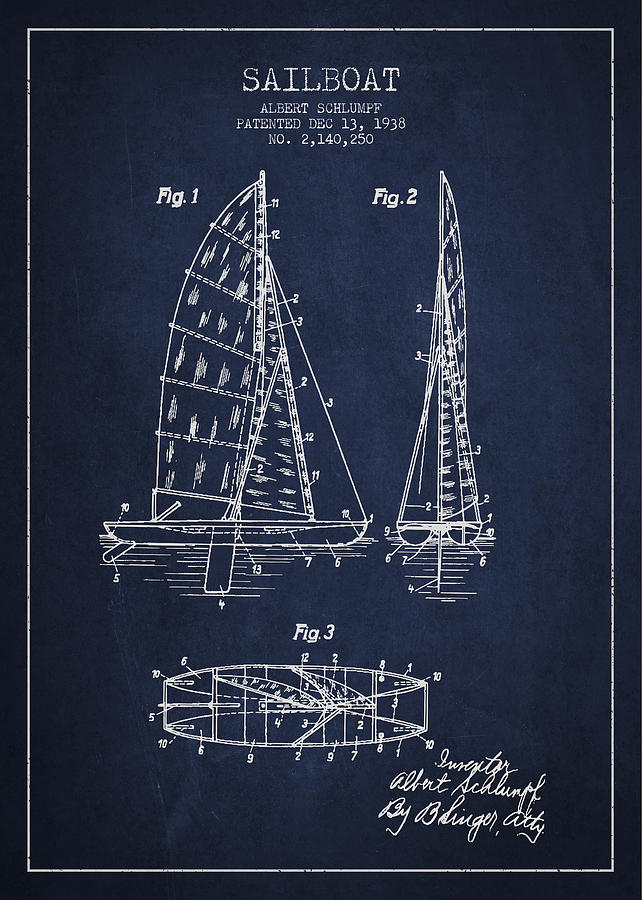 Sailboat Drawing - Sailboat Patent Drawing From 1938 by Aged Pixel