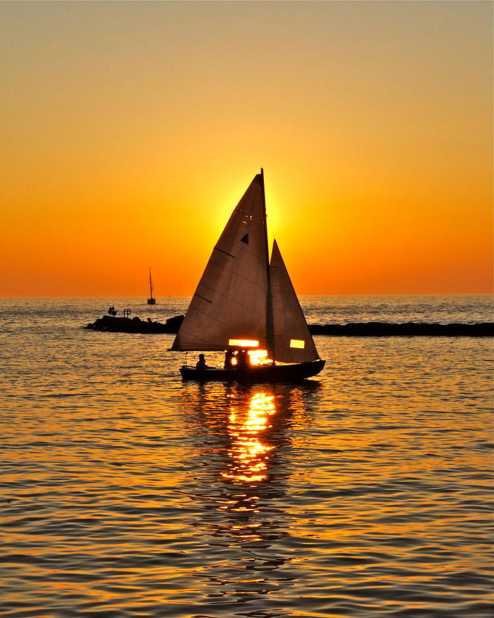 Sailboat Sunset Photograph