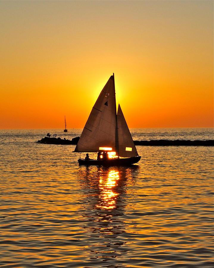 Sailboat Sunset Photograph