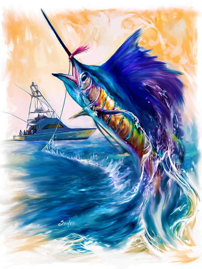 Sailfish And Sportfisher Art Painting