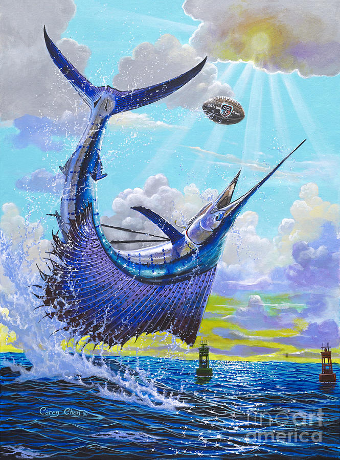 Sailfish Painting - Sailfish Football Off0030 by Carey Chen