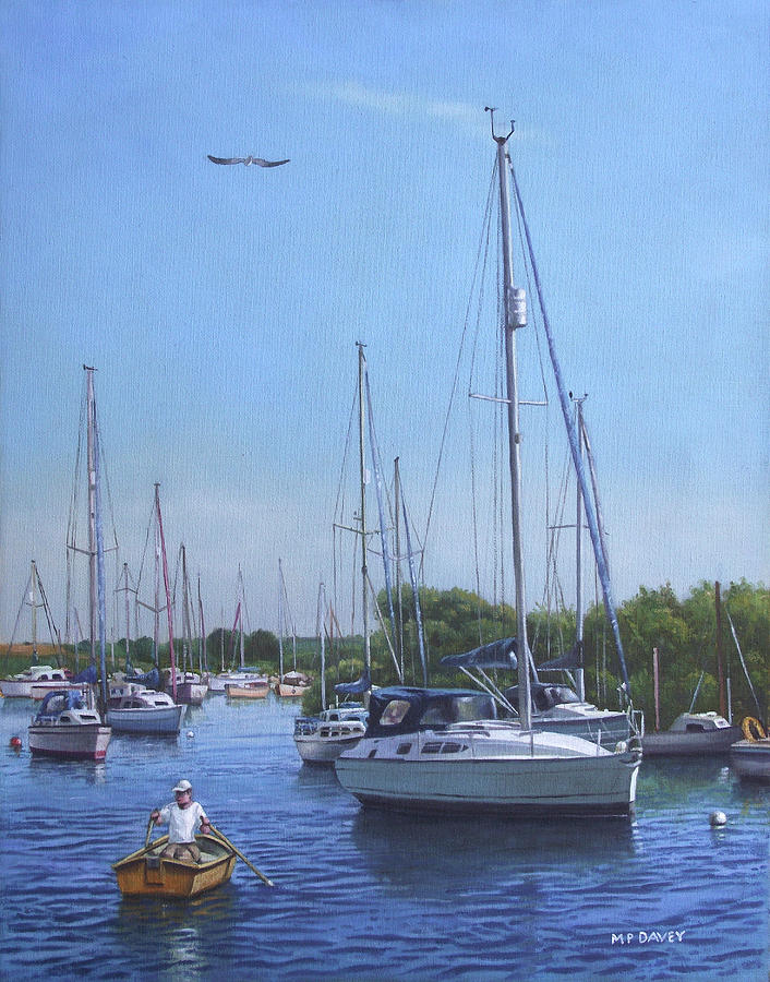 Sailing Boats At Christchurch Harbour Painting  - Sailing Boats At Christchurch Harbour Fine Art Print