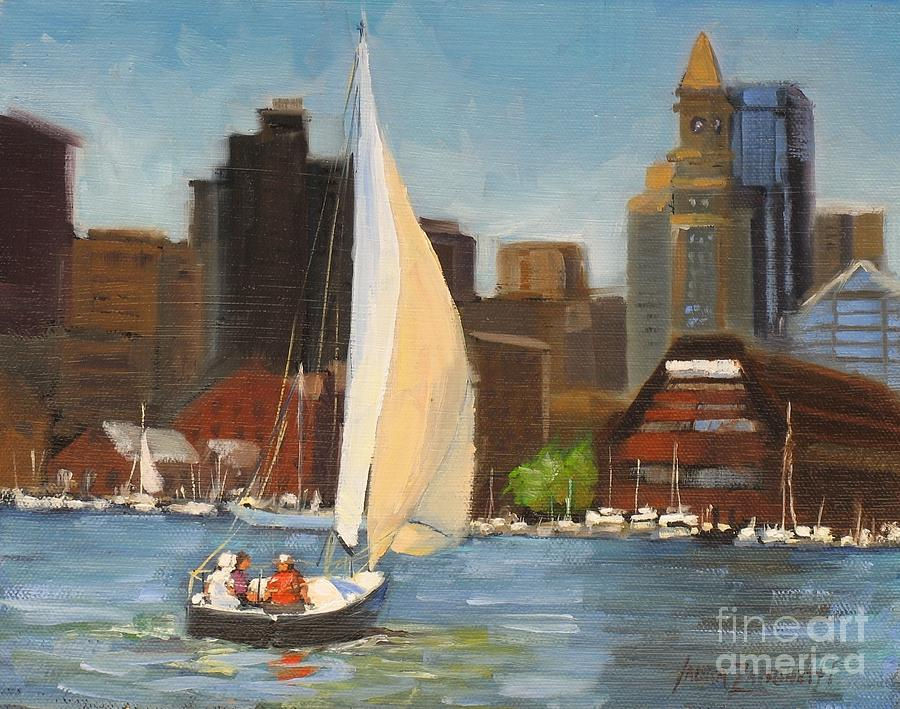 Sailing Boston Harbor Painting  - Sailing Boston Harbor Fine Art Print