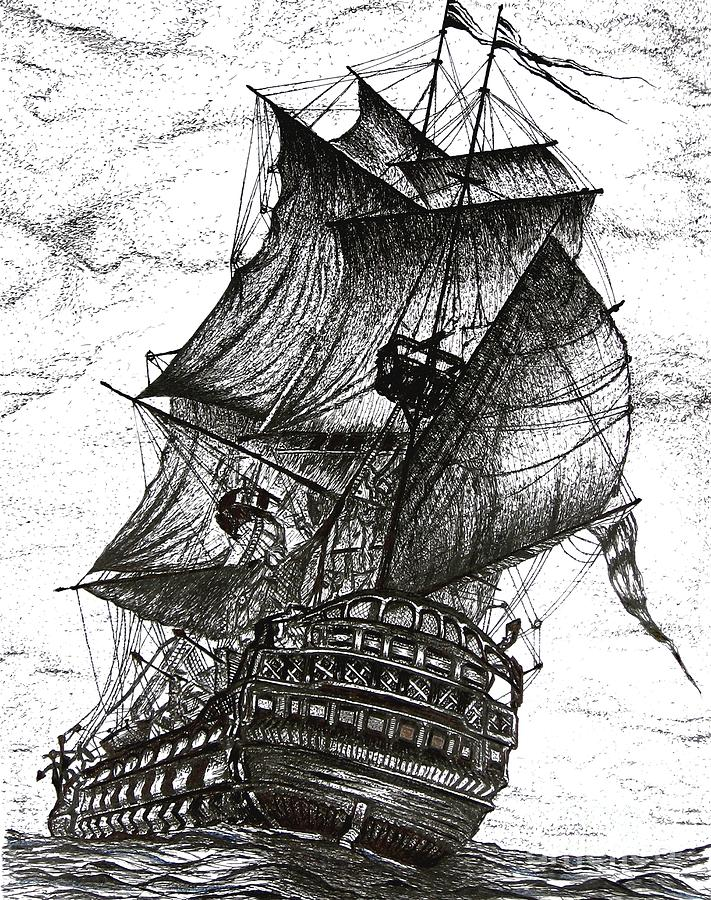 Sailing Drawing Pen And Ink In Black And White Drawing  - Sailing Drawing Pen And Ink In Black And White Fine Art Print