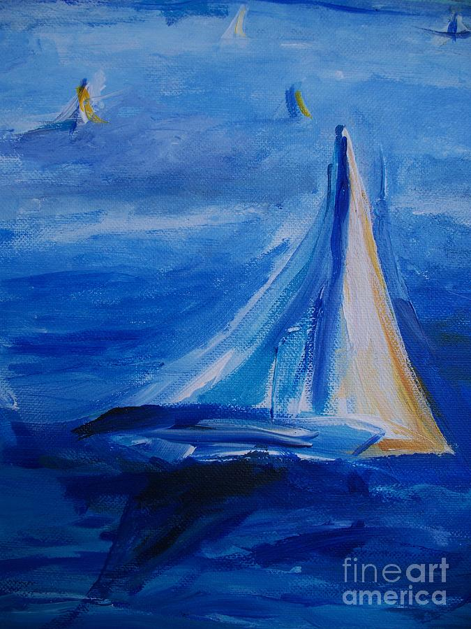 Sailing In Fog On San Francisco Bay Painting