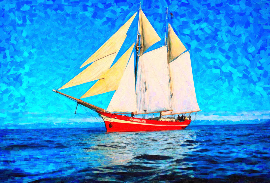 Sailing In The Cold Waters Art Painting  - Sailing In The Cold Waters Art Fine Art Print
